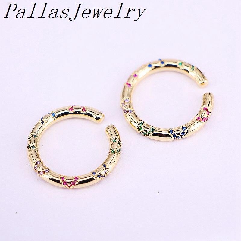 8 pares cz orelha manguito jóias clip-on