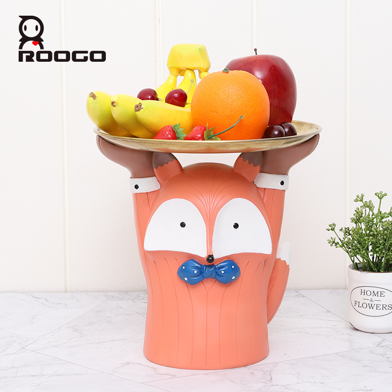 Roogo Cute Animal Shaped Fruit Tray Home Decoration Accessories Figurines For Office Desktop Decor Creative Ornaments For Living Room Decor Piggy Bank For Kids Bedroom