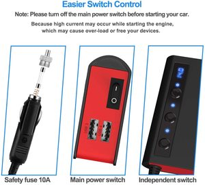 Разветвитель Прикуривателя с 4 usb-портами, автомобильное зарядное устройство, быстрая зарядка, дисплей напряжения, светодиодный индикатор ...