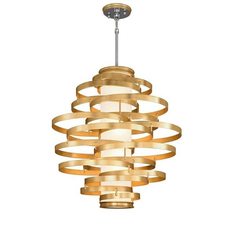 Современная Люстра Роскошный домашний декор подвесной светильник покрытие из нержавеющей стали кольцо золотые люстры гостиная спальня св