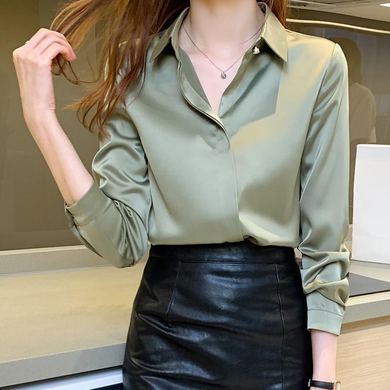 Generous Silk Shirts Women Long Sleeve Shirts Blouses For Women Satin Clothing Shirt Office Lady Solid Silk Shirt Blouse Tops Plus Size
