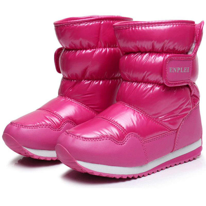 Fashion Winter Children Boys Snow Boots Thick Warm Shoes Cotton-Padded Suede Buckle Boys Girls Boots Kids Shoes Waterproof