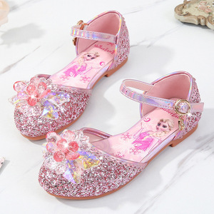 Image 2 - Prinses Kinderen Leren Schoenen Voor Meisjes Casual Glitter Kinderen Lage Hak Meisjes Schoenen Blauw Roze Zilver Elsa Party Schoen
