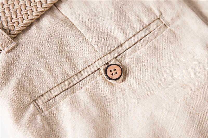 2020 yeni yaz % 100% pamuk keten şort erkekler kalite diz boyu Casual erkek şort nefes düz renk kısa pantolon erkekler