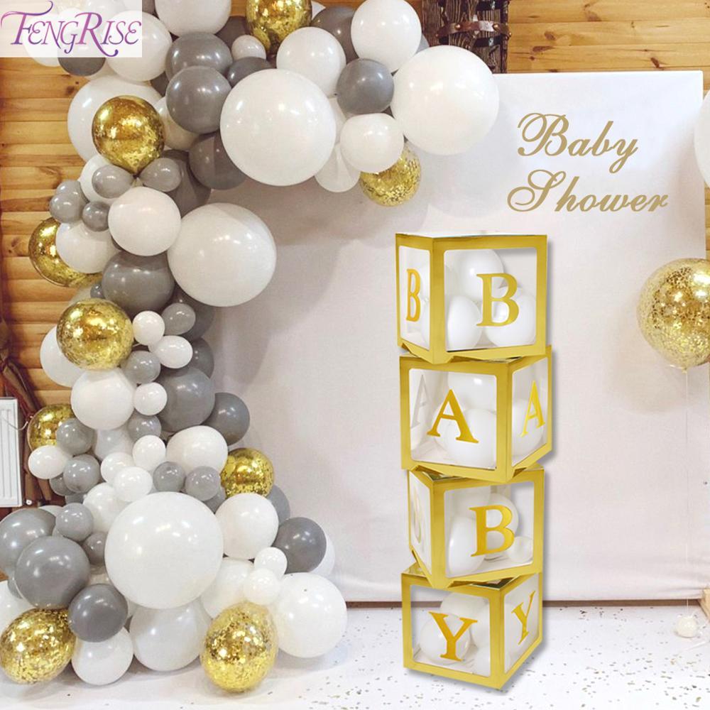 FENGRISE Boy Girl Baby Shower Decor DIY Gold Transparent Name Age Box Birthday Party Decor Kids Supplies BabyShower Christening