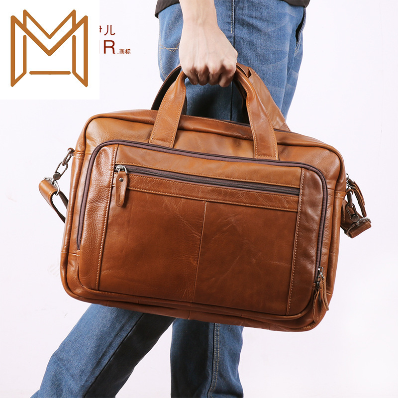 Man Briefcase Business Affairs Handbag Inch Genuine Leather Computer Package Head Layer Cowhide Male Package