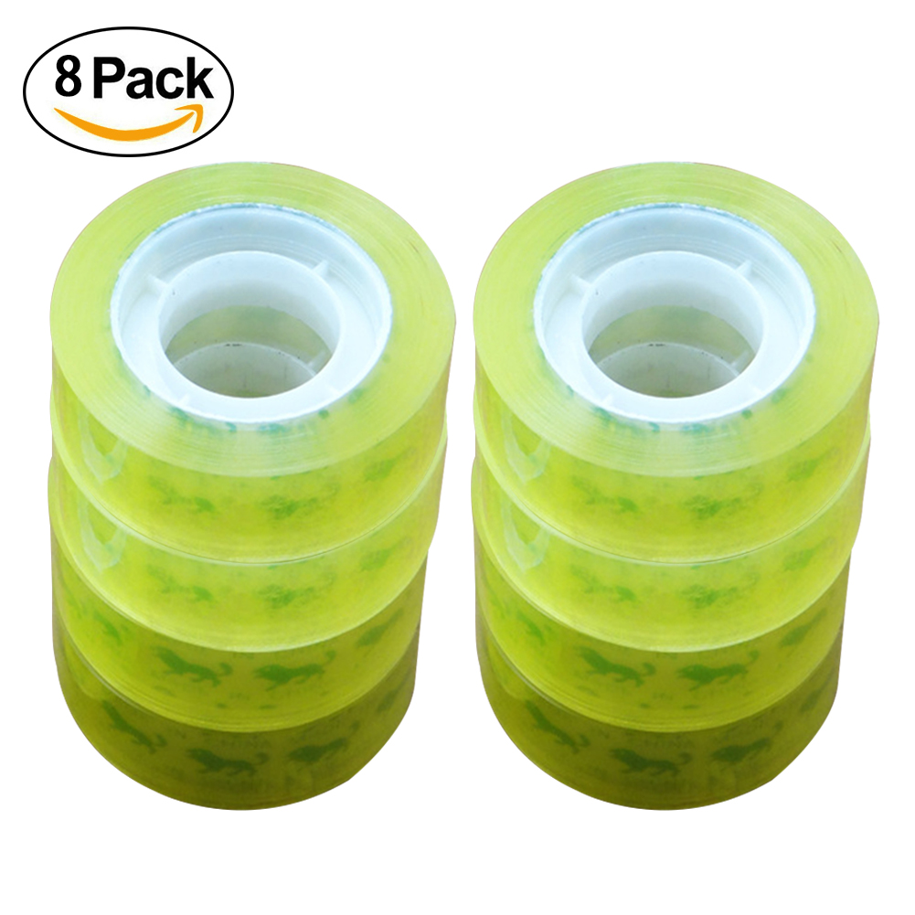 8 Roll General Purpose Clear Office Transparent Adhesive Sticky School Stationery PVC 12mm Tape