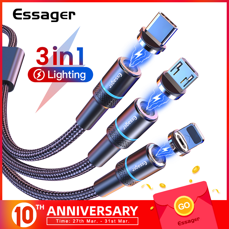 Essager 3 In 1 Magnetic Micro USB Cable For iPhone Samsung Android 3in1 Multi Magnet Charger Fast Charging USB Type C Cable Cord|Mobile Phone Cables| |  - AliExpress