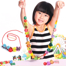 60pcs Wooden  Beads Animals Stringing Game Blocks Toys Heart-Shape Box Educational Mixed Digit Fruit Toy for Children Gifts