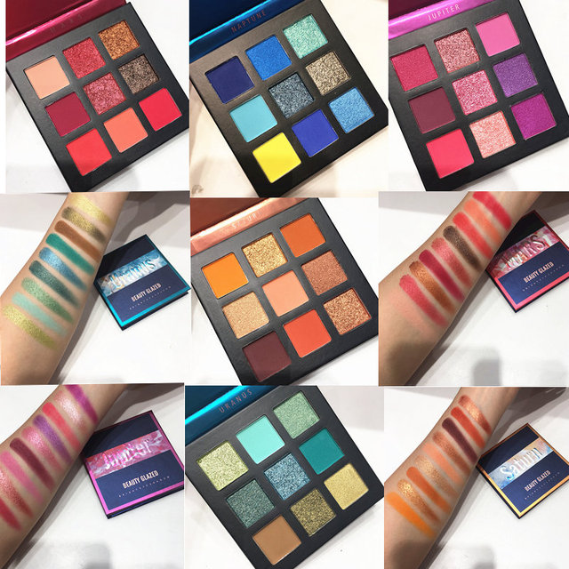9 Color Yellow Beauty Glazed Makeup Eyeshadow Pallete Makeup Brushes Shimmer Pigmented Eye Shadow Palette Make Up Palette 1