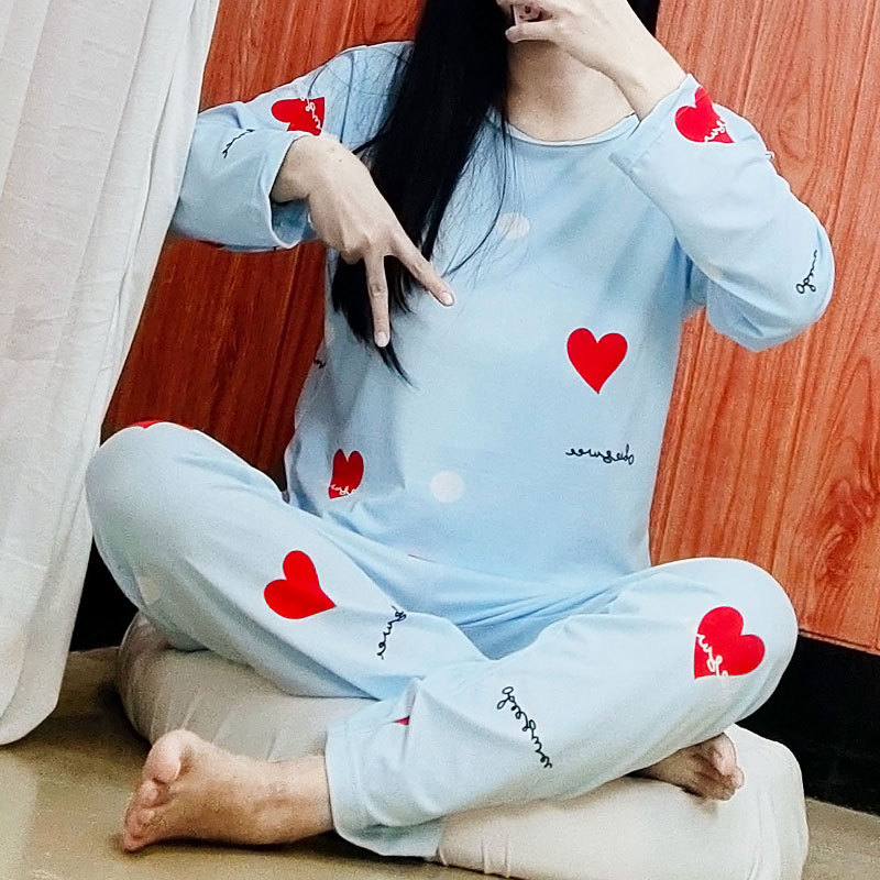 Pajamas Women's Spring And Autumn Fresh Heart Qmilch Comfortable Pajamas Long Sleeve Two-Piece Set Thailand