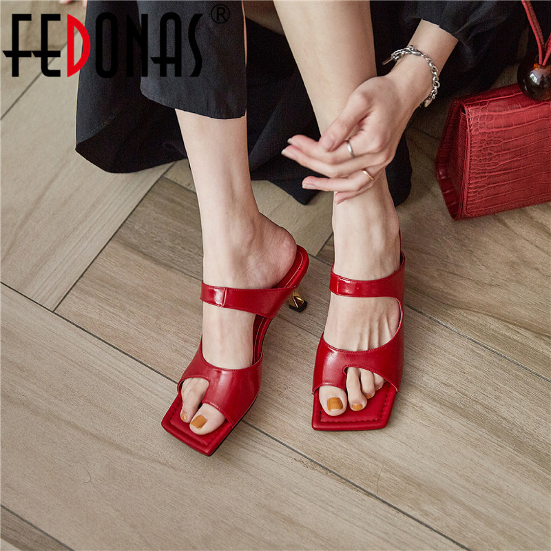 FEDONAS Sexy Elegant Genuine Leather Women Slippers 2020 Summer Open-Toed High Heels Sandals Wedding Working Shoes Woman Heels