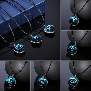 12 Constellation Guardian naszyjnik wisiorek z księżycem łańcuszek do obojczyka naszyjnik urodziny prezenty dla kobiet i mężczyzn