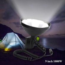 1000W Portable Searchlights Spotlight 12V Hunting light handheld lamp 9 inch 245mm Outdoor spot lights for Camping lighting