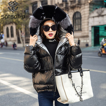 Women Winter Down Jacket Coats Hooded Real Fur Female Duck D