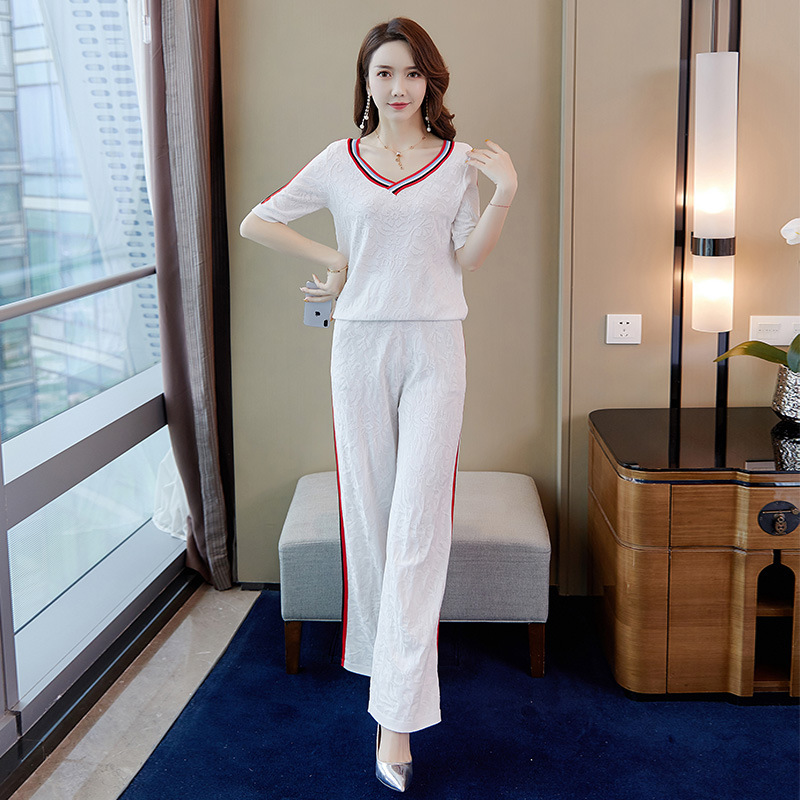 Casual WOMEN'S Suit 2019 Summer New Style Fashion Korean-style Sweater Pants Two-Piece 9430