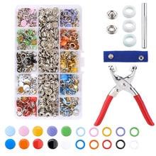 100/200 Sets Snap Fasteners Kit Tool, metal Snap Knoppen Ringen Met Fastener Tangen Druk Tool Kit Voor Kleding Naaien 10 Kleuren