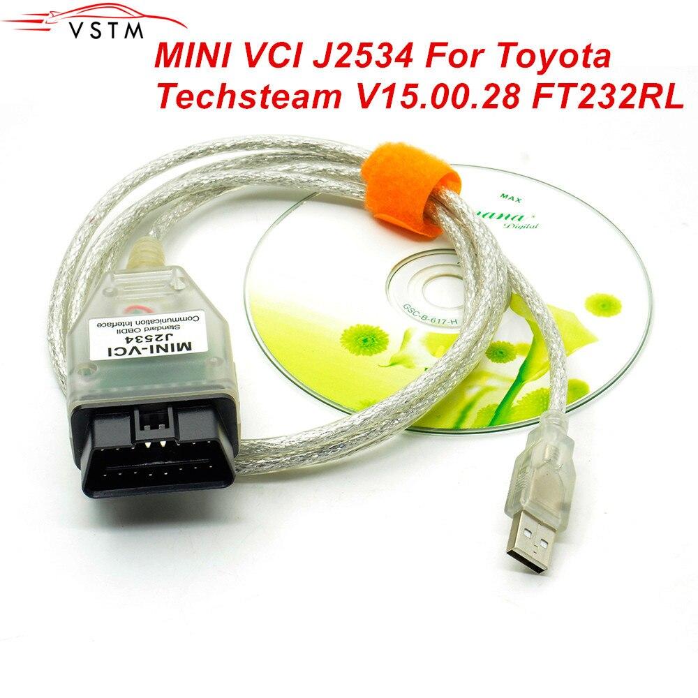 V15.00.028 для Toyota MINI VCI J2534 с FTDI FT232RL OBD OBD2 автомобильный диагностический инструмент Автомобильный сканер кабель TIS Techstream mini vci