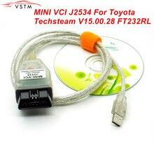 V15.00.028 para toyota mini vci j2534 com ftdi ft232rl obd obd2 ferramenta de diagnóstico do carro cabo do varredor automóvel tis techstream mini vci