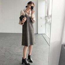 S XL wiosna szata femme Casual Boho OL Casual bez rękawów Plaid kobiety sukienki damska sukienka V neck siatki szelki szata Femme Vestido