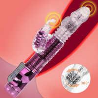 Vibradores dilatadores para mujeres USB recargables juguetes sexuales vibrador de mariposa varita de vibración Dual varillas de cuentas giratorias telescópicas