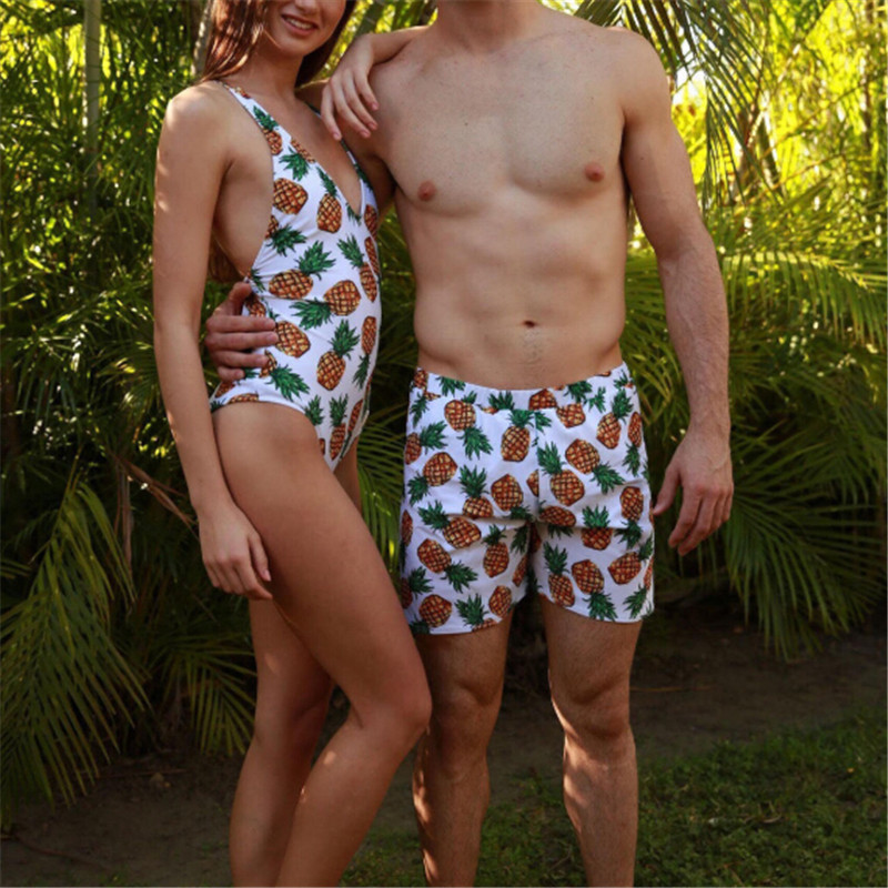 Hot Sale Couples <font><b>Bikini</b></font> <font><b>2019</b></font> <font><b>Sexy</b></font> <font><b>Womens</b></font> One-piece <font><b>Swimsuit</b></font> Man Trunks <font><b>Bikini</b></font> Ladies Floral Printed <font><b>Push</b></font> <font><b>Up</b></font> Pineapple <font><b>Swimwear</b></font> image