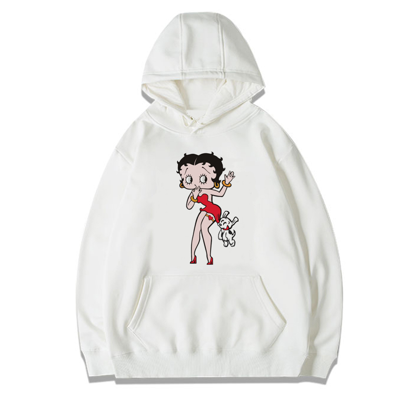 Women Betty Boop Hoodies Sweatshirts Casual Long Sleeve Punk Princess Sexy Girl Hooded Hoody Cute Cartoon Hoddie For Girl