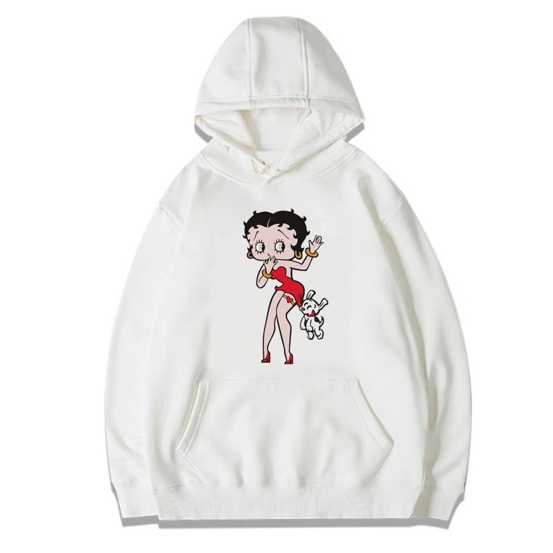Women Betty Boop Hoodies Sweatshirts Casual Long Sleeve Punk Princess Sexy Girl Hooded Hoody Cute Cartoon Hoddie For Girl