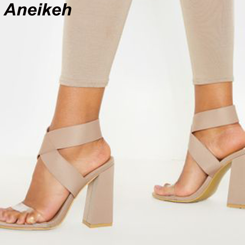 Aneikeh Sexy Stretch Fabric HEELS Women Shoes Peep Toe High Heels Sandals Summer Party Shoes Cross Strap Slip-on Sandals Pumps