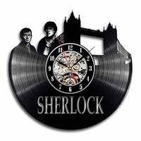 Sherlock Holmes Vinyl Record Wall Clock Modern Design Detective Stories Movie Theme Black Hollow Clocks Wall Watch Home Decor