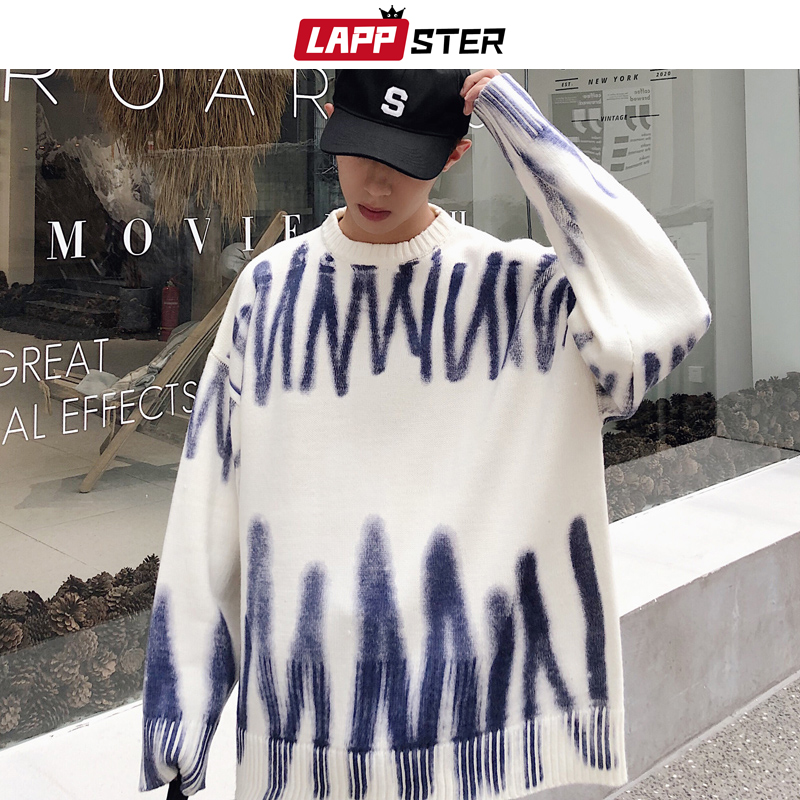 LAPPSTER Men Korean Fashions Sweaters Pullovers 2019 Mens Streetwear Fashions Oversized Knitted Sweater Autumn Oversized Tops