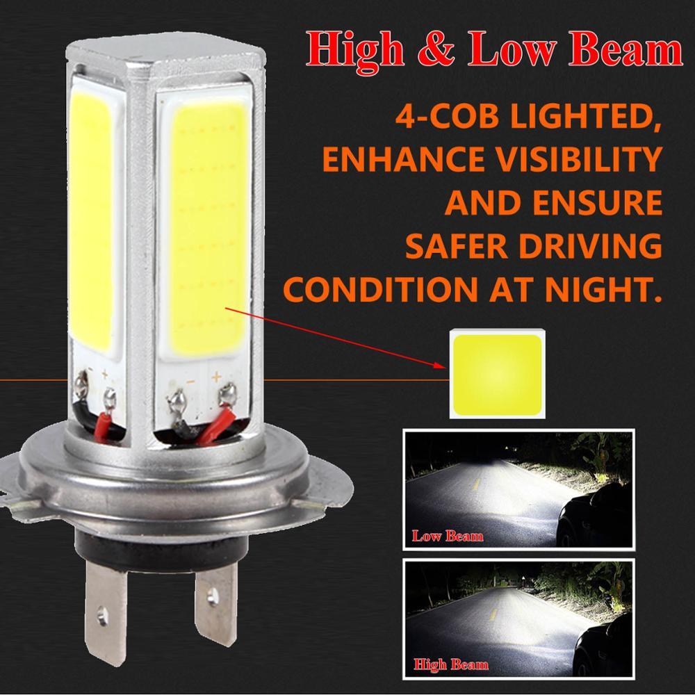 OLOMM 2PCS  H7 Car LED Headlight 12V 80W 4000LM Fog Lights Conversion Kit LED Lamps/Light Bulbs For Cars High/Low Beam 6000K