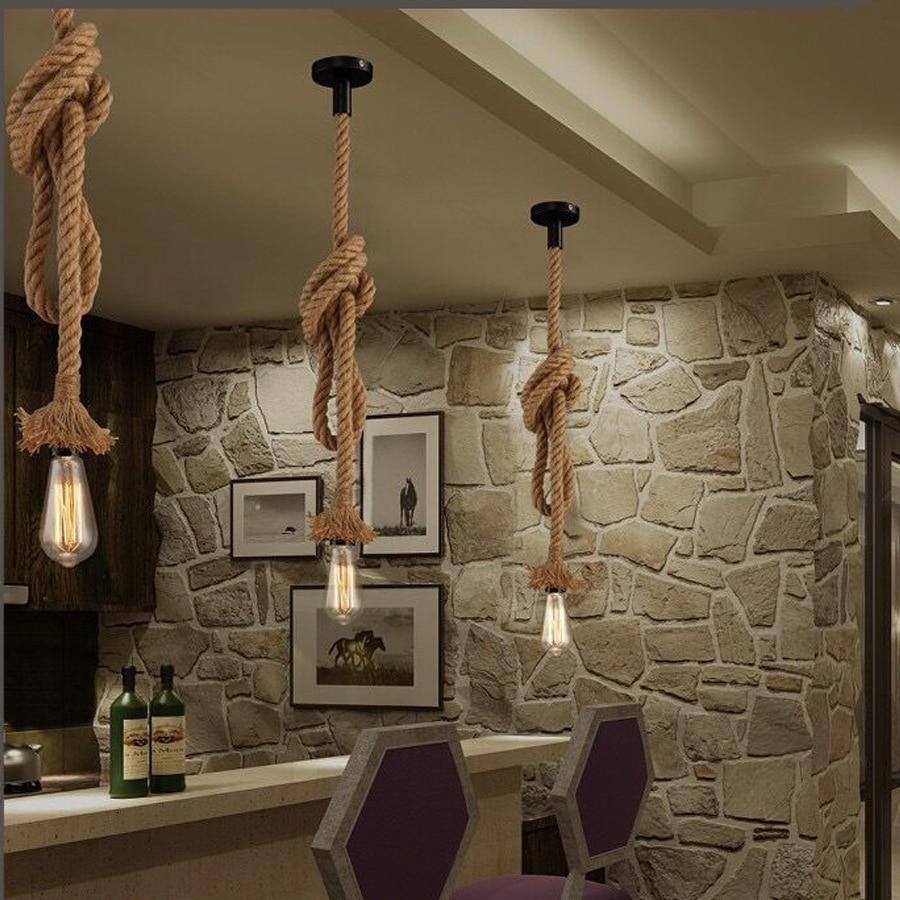 Vintage Hemp Rope Pendant Light Holder E27 AC85-265V Loft Personality Industrial Pendant Lamp Edison Hanglamp Decorative Lamp