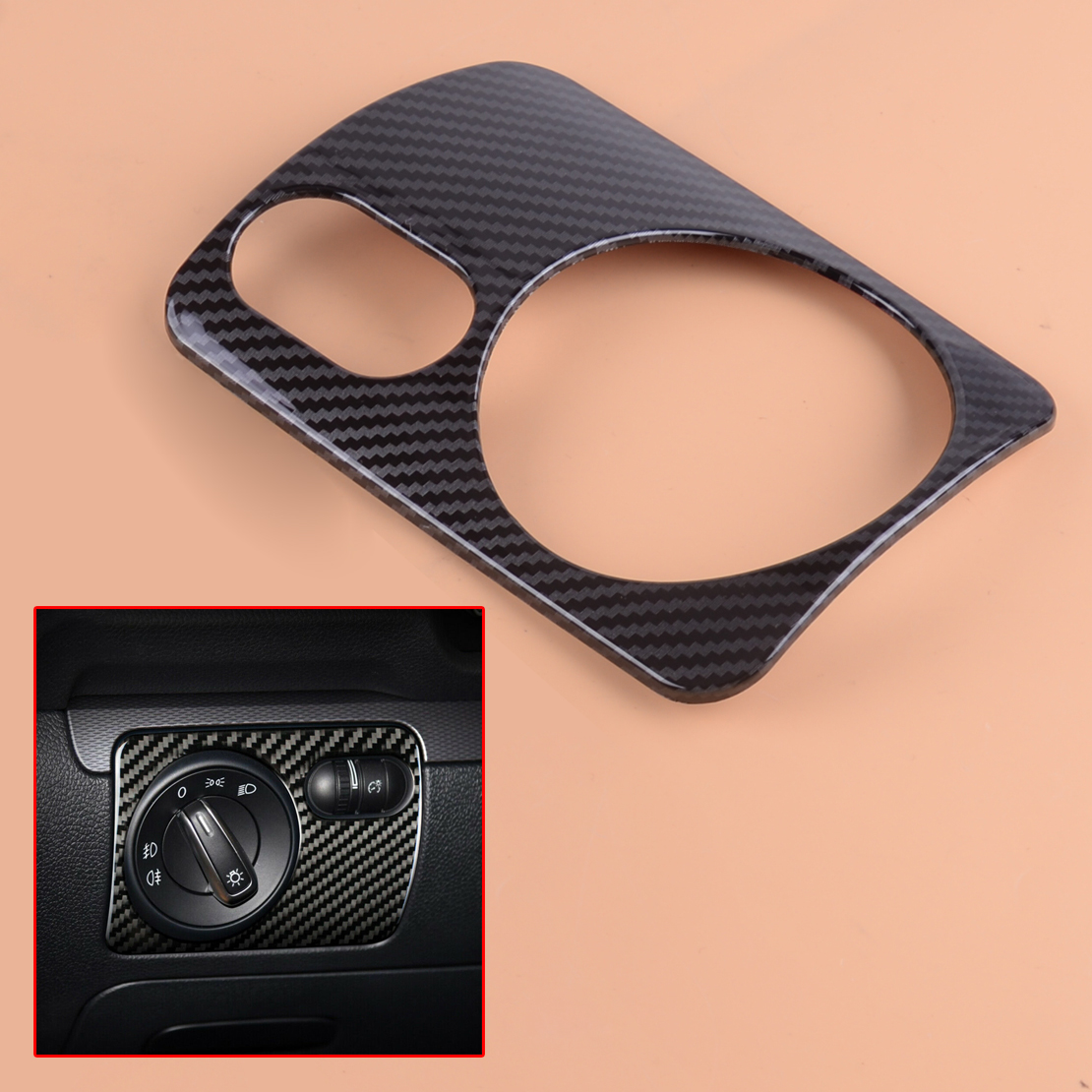 beler Car ABS Carbon Fiber Style LHD Front Headlight Switch Cover Trim Fit for VW Golf 6 MK6 GTI 2008 2009 2010 2011 2012 image