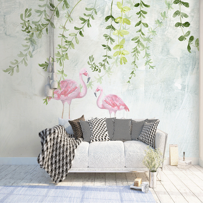 Northern European-Style Wallpaper Flamingo Beauty Salon Wallpaper INS-Style Pink Warm Bed & Breakfast Background Of Television I