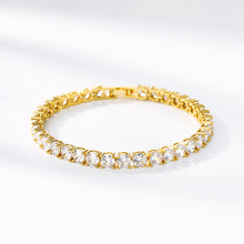 Iced Zircon Chain Bracelet Hip Hop Men Jewelry Stainless Steel Material Gold Silver Color Box Clasp CZ Bracelet Link 18cm(China)