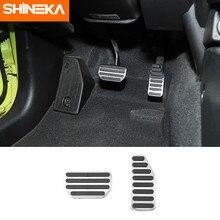 Shineka acessórios de aço inoxidável para suzuki jimny 2019 + carro acelerador freio pé pedais capas para suzuki jimny 2019-2020