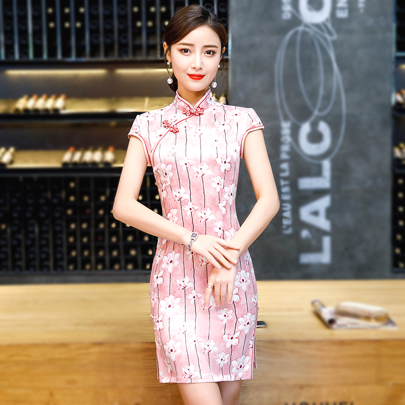 Sheng Coco Women Pink Chinese Dresses Silk Short Style Qipao Imitate Classic Cheongsam Traditional Chinese Dress Mujer Vestidos