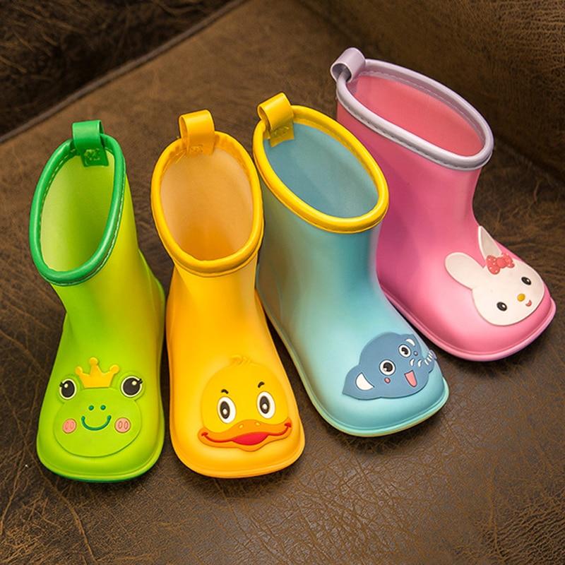 New Kid Rain Shoes Children Boot Ankle PVC Rubber Boy Baby Cartoon Water Shoe Toddler Raincoat Girl Waterproof Rain Boots Spring