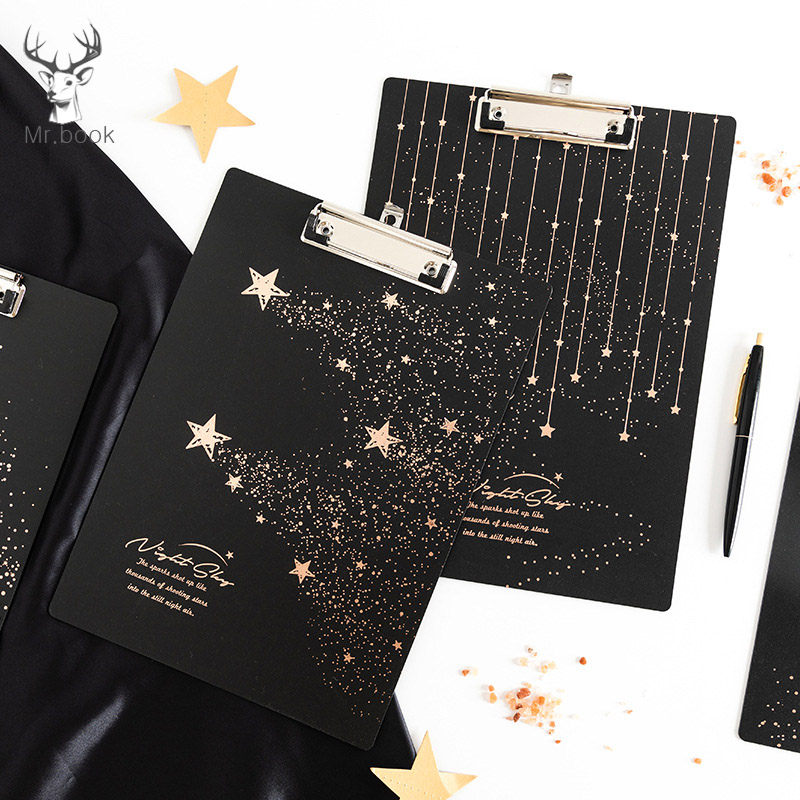 Starry Sky Writing Board Clamp PP A4 Pad Plate Clip Plastic Hanging Workshop Office Stationery Board Clip Document File Folder