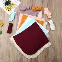 Focusnorm/комплект из 2 предметов для новорожденных девочек, хлопчатобумажное одеяльце, пеленка с кисточками, спальный мешок+ шляпа, комплект одежды