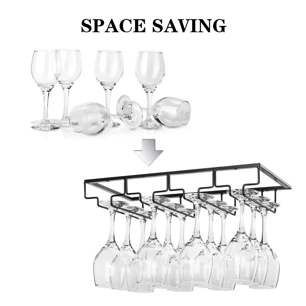 Wine Glass Rack - Under Cabinet Stemware Wine Glass Holder Glasses Storage Hanger Metal Organizer for Bar Kitchen Black 4 row