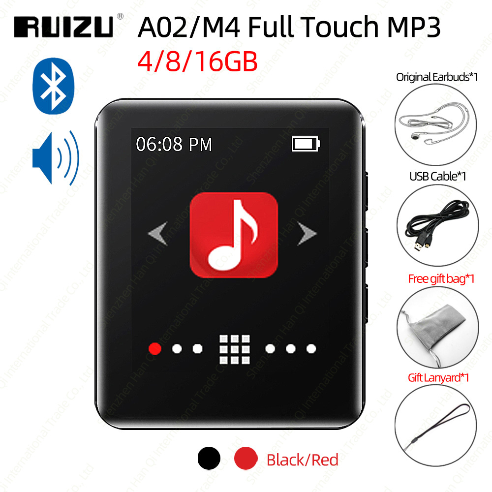 RUIZU A02 M4 Bluetooth 4.0 MP3 Player With Full Touch Screen Portable Music Player With Speaker FM EBook Recorder Pedometer