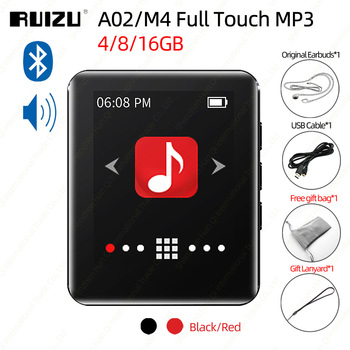 RUIZU A02 M4 Bluetooth 4.0 MP3 Player With Full Touch Screen Portable Music Speaker FM EBook Recorder Pedometer - discount item  16% OFF Portable Audio & Video