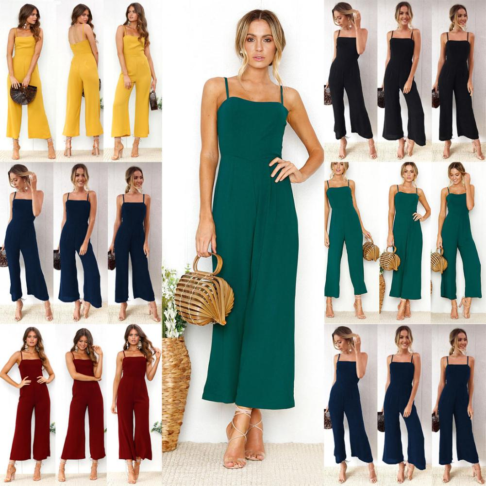 Sexy Halter Sleeveless Wide Leg Women Jumpsuit Solid Color Long Romper Gift Suitable for variety of occasions