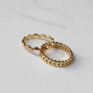 Amaiyllis 18K Gold Peace Wheat Rings Plant Floral Simple Arrow Wicker Gold Color Index Finger Ring for Women Girls