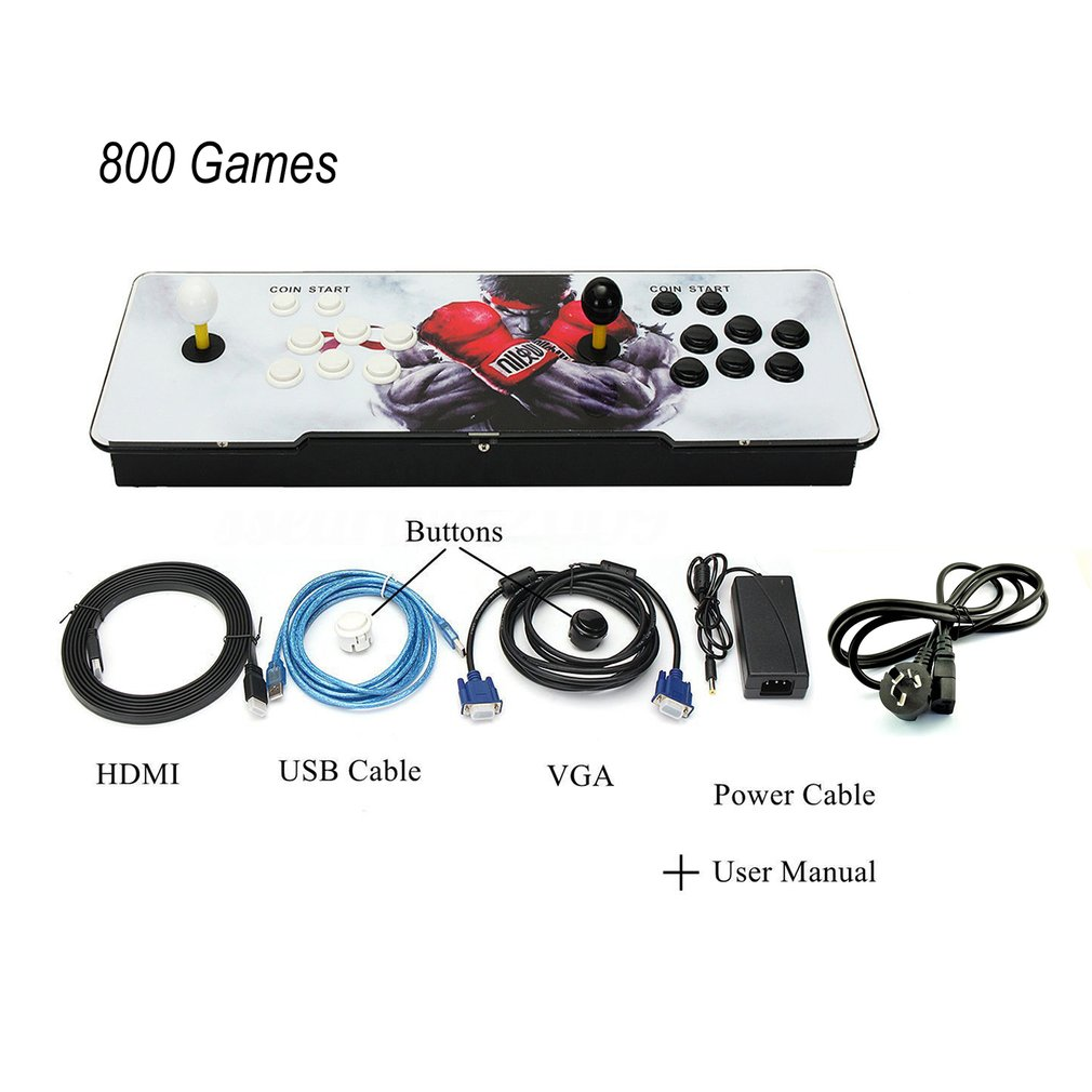800 In 1 TV For Jamma Arcade Game Console Kit Set Double Joystick HDMI VGA Interface Home Children Playing Console UK/US/AU Plug