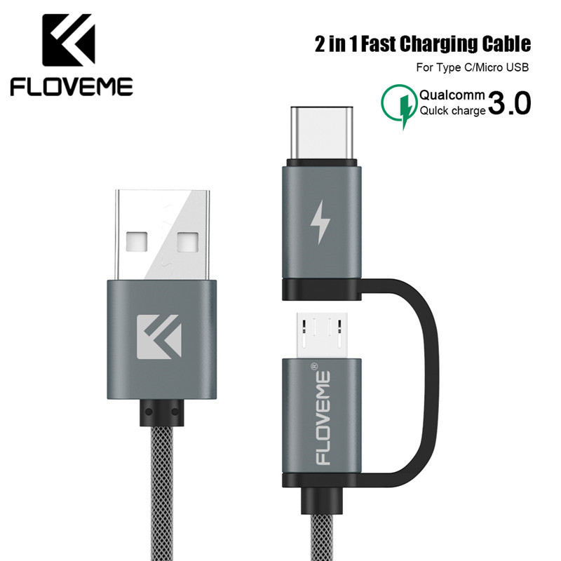 FLOVEME QC 3.0 Micro USB Type C Cable For Xiaomi Redmi Note 8 Pro 8 7 2 in 1 Fast Micro USB Cable For Samsung A50 A70 S10 S8 S9 image