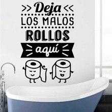 Pegatinas de pared impermeables para decoración del hogar, pegatinas para pared con frases en español, para baño y baño, RU469