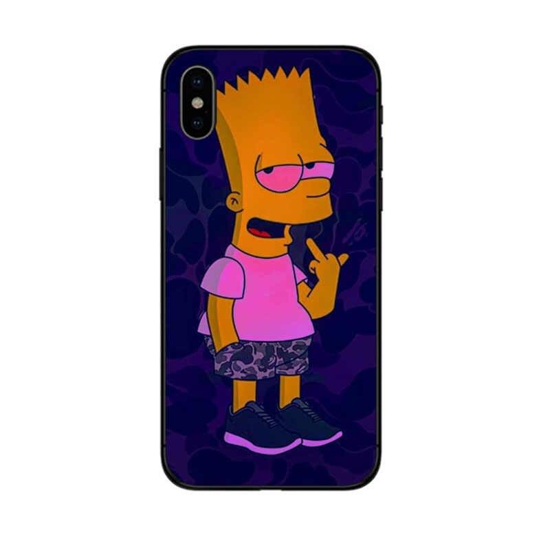Bart Simpson Hitam TPU Lembut Silicone Ponsel Case Penutup untuk Apple Iphone 6 6 S 7 Plus X XR XS 5 5S SE Lucu Simpsons Shell Coques